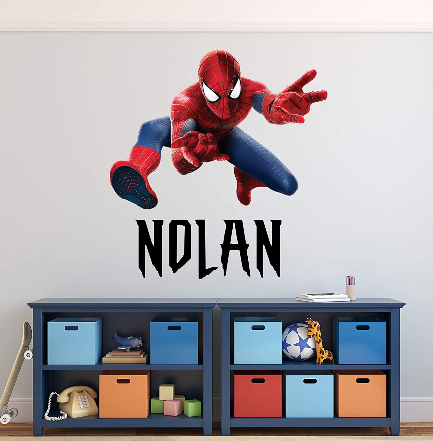"Custom Name Wall Decal Spider Man Wall Decals Art Decor Superhero Boys Kids Room Wall Decor Custom Gift Mural Poster Vinyl Wall Stickers (16""W x 16""H)"