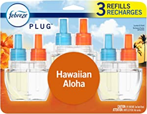 Febreze Plug in Air Freshener and Odor Eliminator, Scented Oil Refill, Hawaiian Aloha, 3 Count