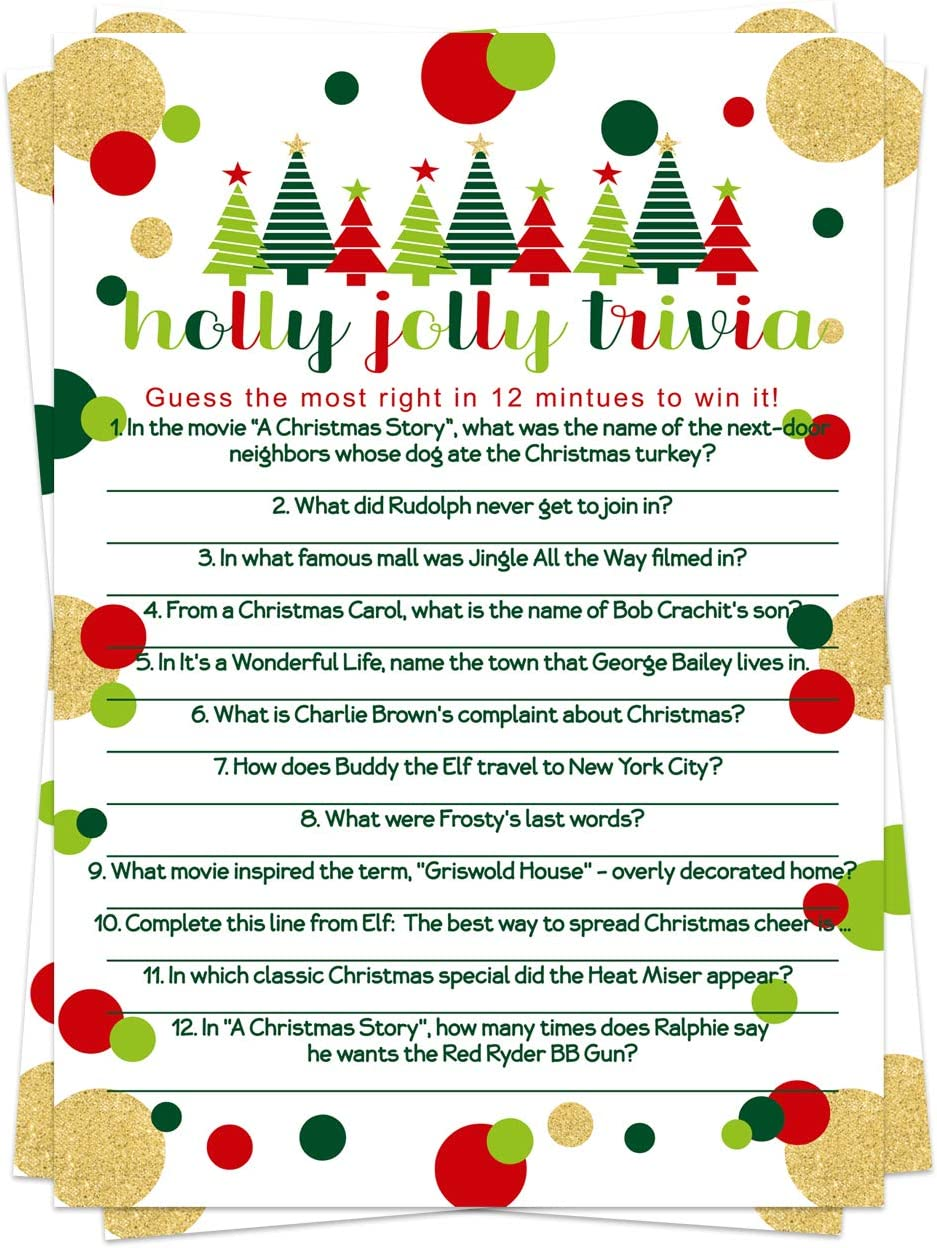 Jolly Trees Christmas Trivia Game Cards (25 Pack) Holiday Party Supplies - Fun Merry Xmas Guessing Activity - Adults Kids Groups Family Coworkers - Red Green (Version 3)