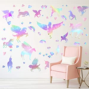 Unicorn Peel and Stick Wall Decal Giant Glitter Unicorn Wall Sticker Kids Room Nursery Cartoon Wall Decals Removable DIY Cartoon Party Wallpaper for Playroom Living Room Decor (Rainbow Color Series)