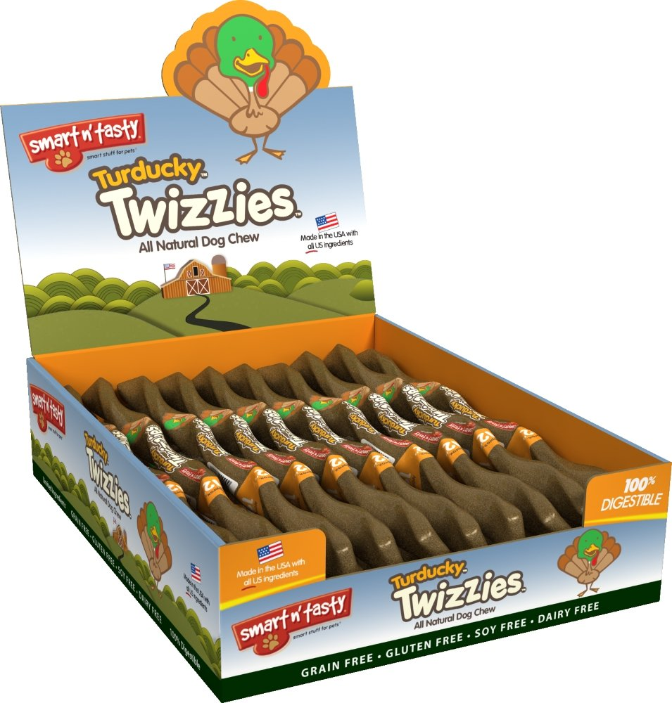 Smart n' Tasty Grain Free Turkey and Duck Turducky Twizzies All Natural Chews, Pack of 30