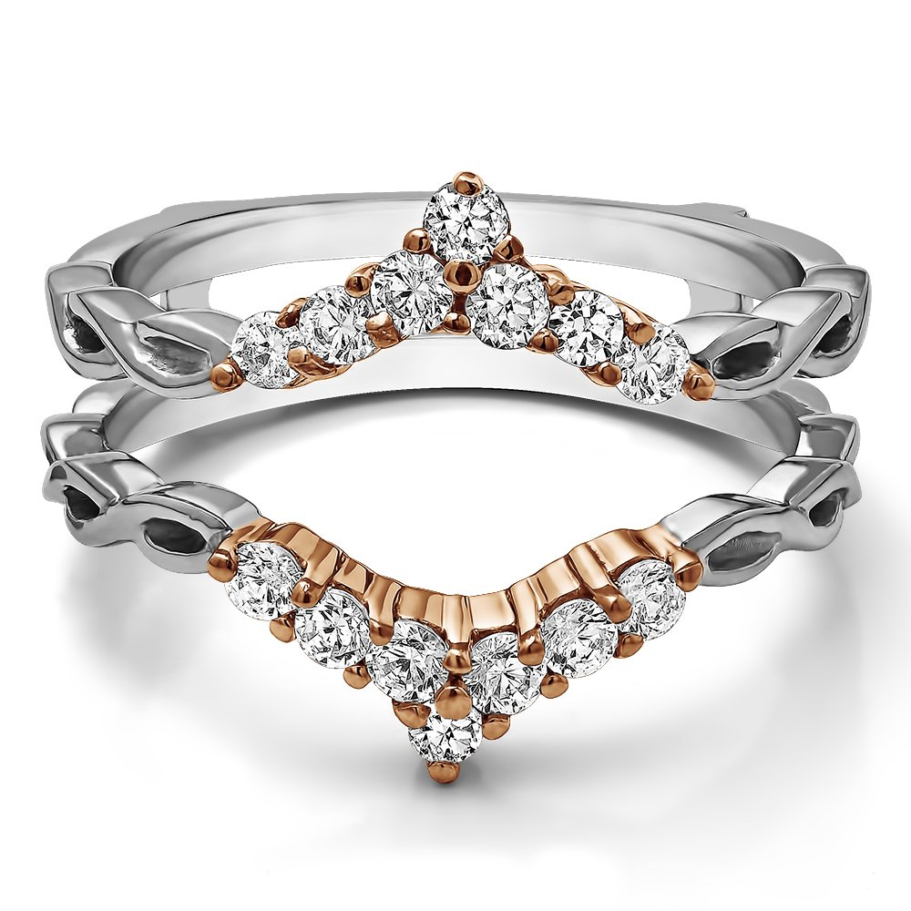 TwoBirch 0.45 ct. Cubic Zirconia Infinity Chevron Ring Guard Enhancer in Rose Gold Plated Sterling Silver (1/2 ct. twt.) by TwoBirch (Image #7)