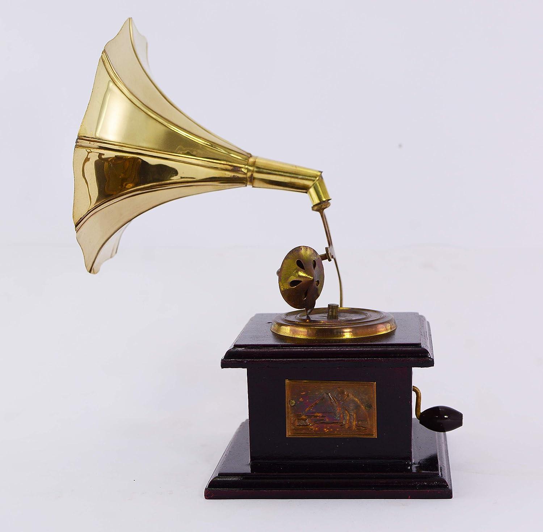 Novelika Decorative Gramophone Wooden Brass Showpiece Living Room Table Piece Home Décor