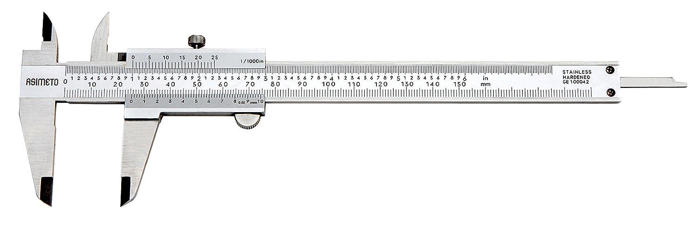 0.02mm//0.001 Graduations 0-150mm//0-6 Range Upper Lock Asimeto 7341064 Plain Style Vernier Caliper 0.03mm Accuracy Stainless Steel