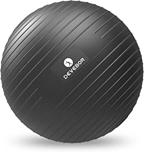 DEVEBOR Exercise Ball for Yoga Balance Fitness Stability Workout Guide, Professional Grade Extra Thick Yoga Ball Chair with Quick Pump, Anti-Burst Heavy Duty Stability Ball…