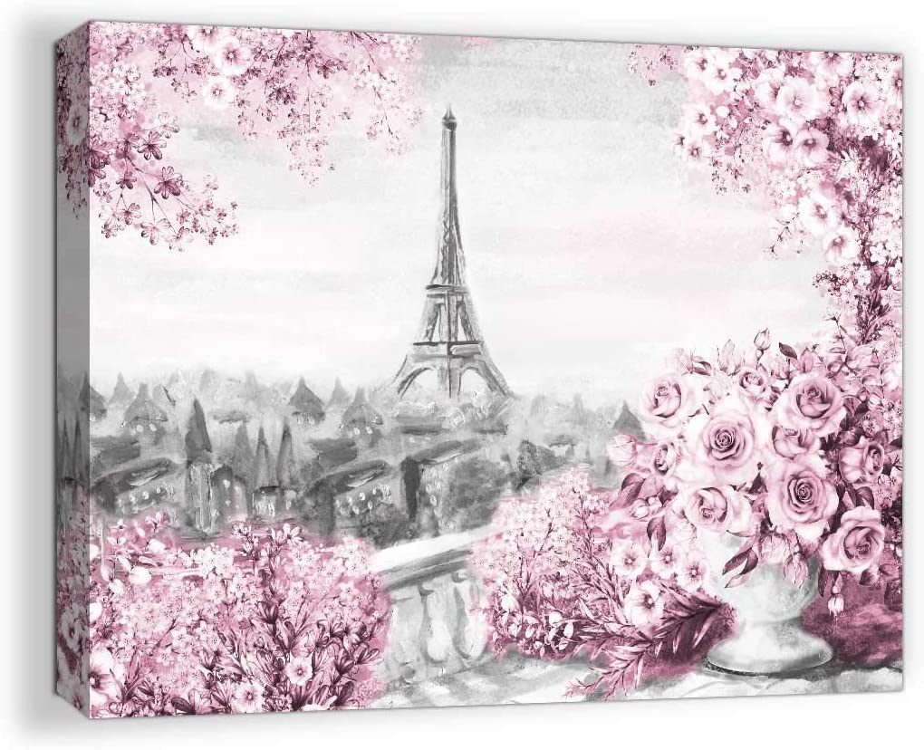 Paris Decor for Bedroom Wall Decor Girls Room Decorations for Bedroom Decor Pink Eiffel Tower Pictures for Bathroom Wall Decor Canvas Modern Artwork for Home Wall Art Framed Wall Decor Size 12x16