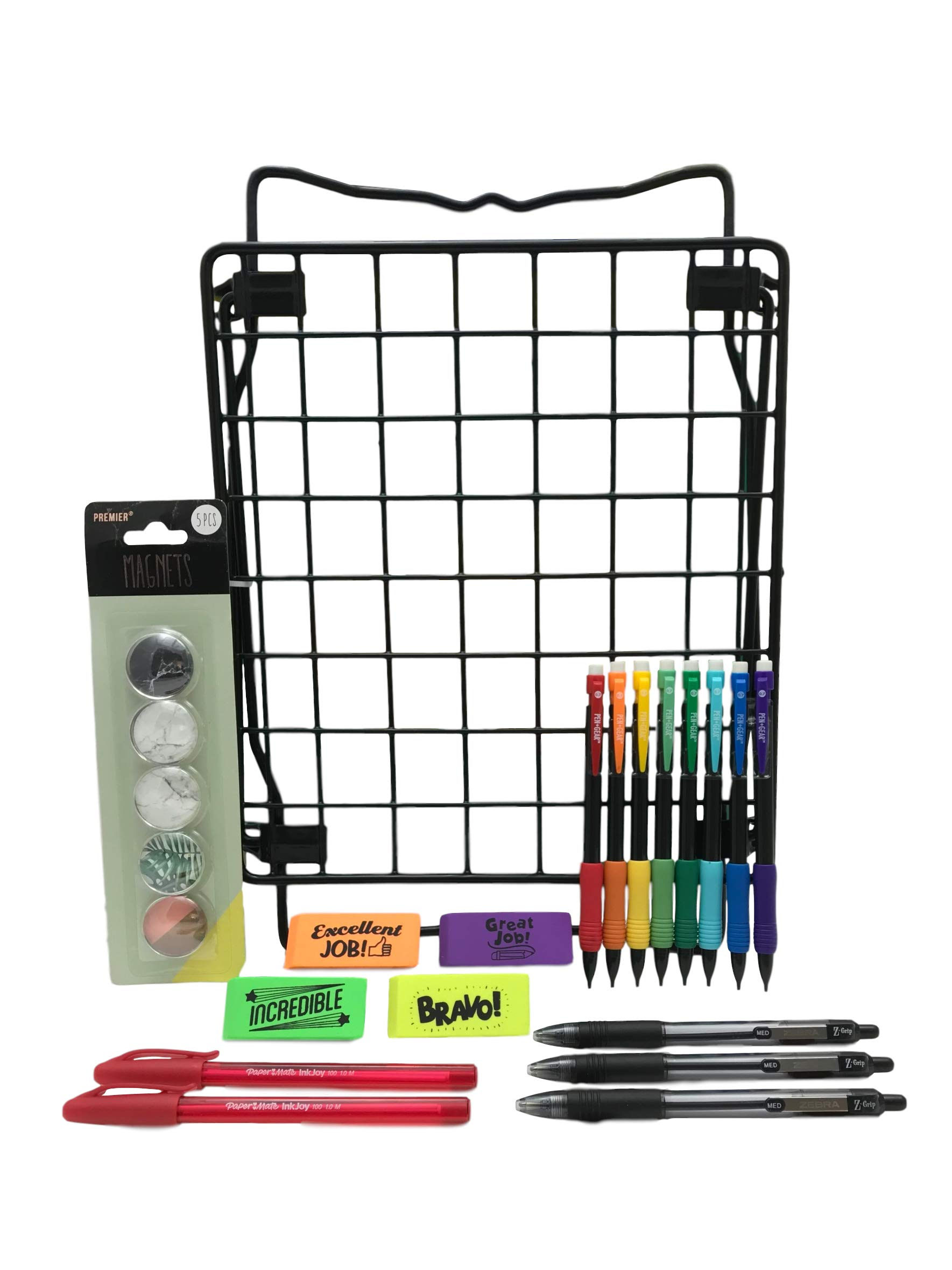 School Locker Shelf Kit Black with Accessories Bundle 23 Pieces