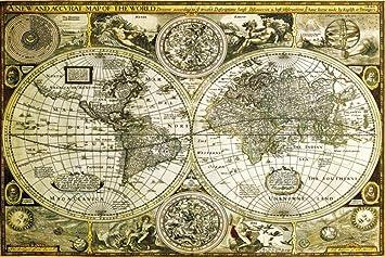 1art1 61804  Pster de mapamundi antiguo 91 x 61 cm Amazones