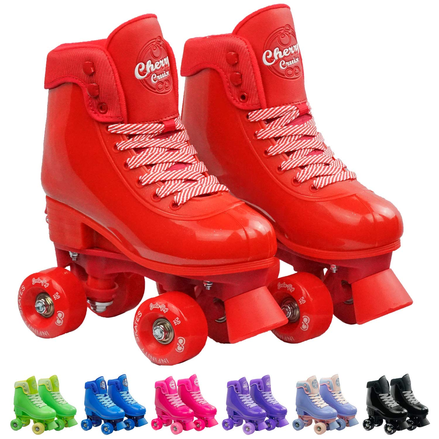 Infinity Skates Adjustable Roller Skates for Girls and Boys - Soda Pop Series (Red/Small)