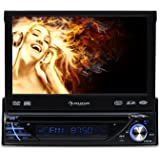 "auna MVD-260 autorradio con pantalla tactil 7"" abatible (DVD, Bluetooh, USB SD, reproductor multimedia, panel desmontable, DIN simple, AUX frontal, FM, micrófono integrado)"