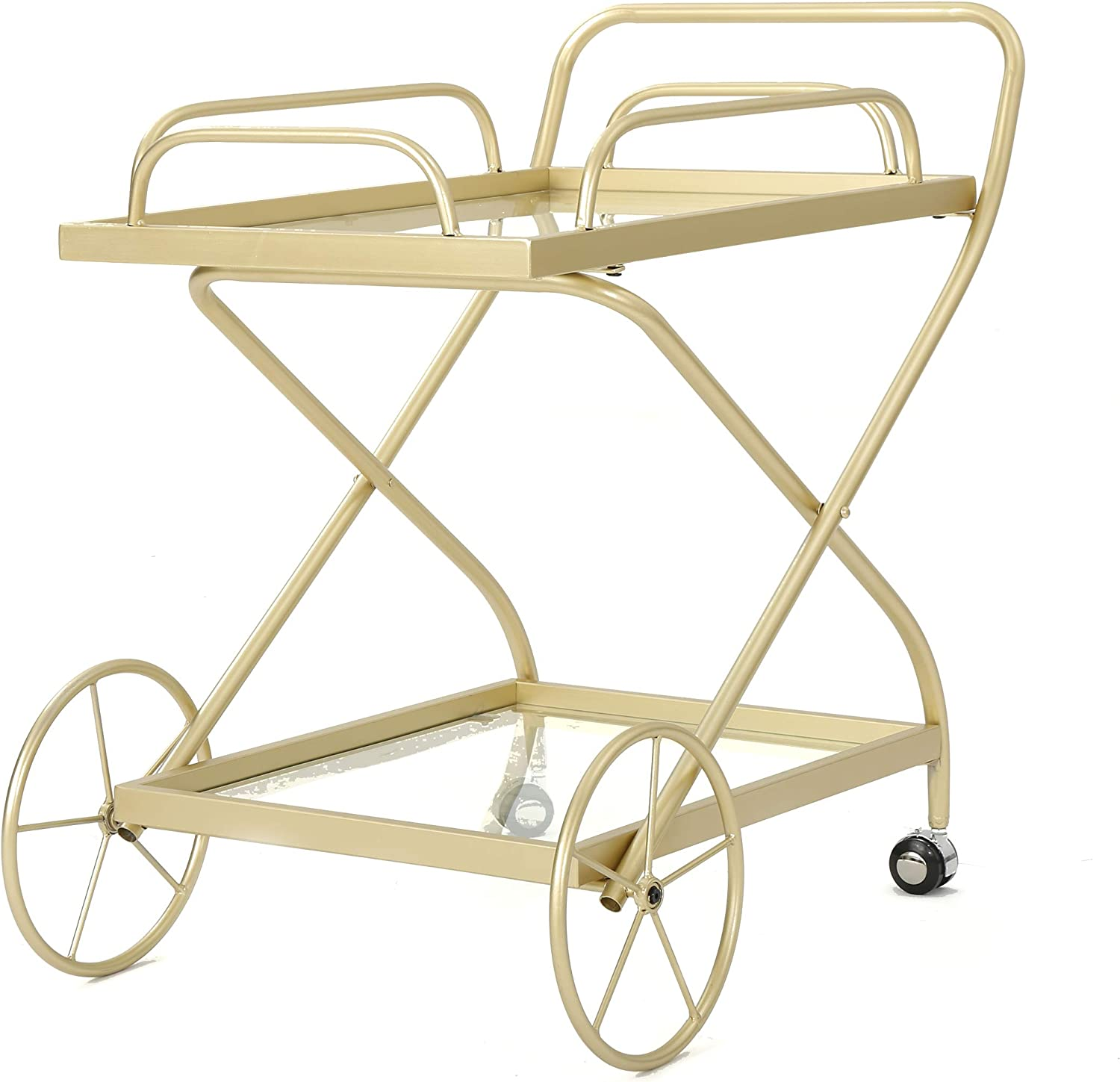 Christopher Knight Home Bunny | Outdoor Traditional Iron and Glass Bar Cart | in Gold