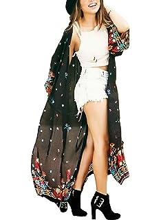 7c3923887c Women's Long Sheer Floral Kimono Cardigan, Chiffon Bikini Beach Cover up,  Summer Blouse Loose