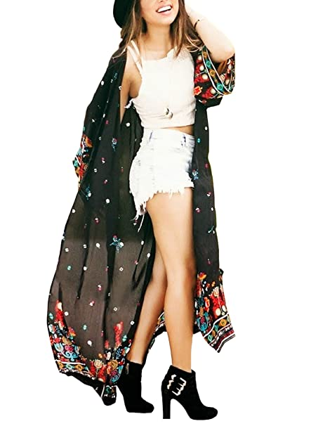 7c3923887c Women's Long Sheer Floral Kimono Cardigan, Chiffon Bikini Beach Cover up,  Summer Blouse Loose