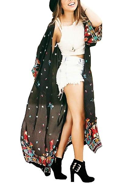 547581e075266 Women's Long Sheer Floral Kimono Cardigan, Chiffon Bikini Beach Cover up,  Summer Blouse Loose