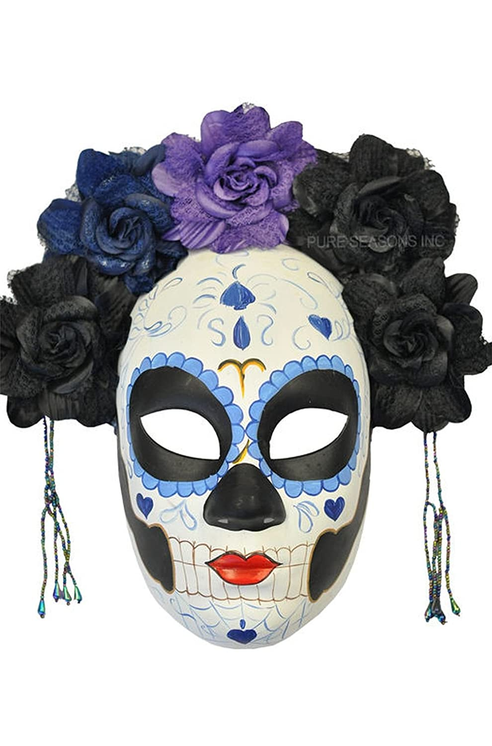 Mememall Fashion La Calavera Catrina Skeleton Skull Masquerade Mask (Black/Blue)