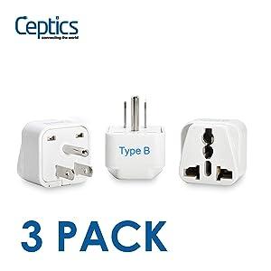 Ceptics USA, Canada Universal Travel Plug Adapter (Type B) -Convert Europe, UK, India, Australia to American Socket - Round to Flat Pin - 3 Pack (GP-5-3PK)