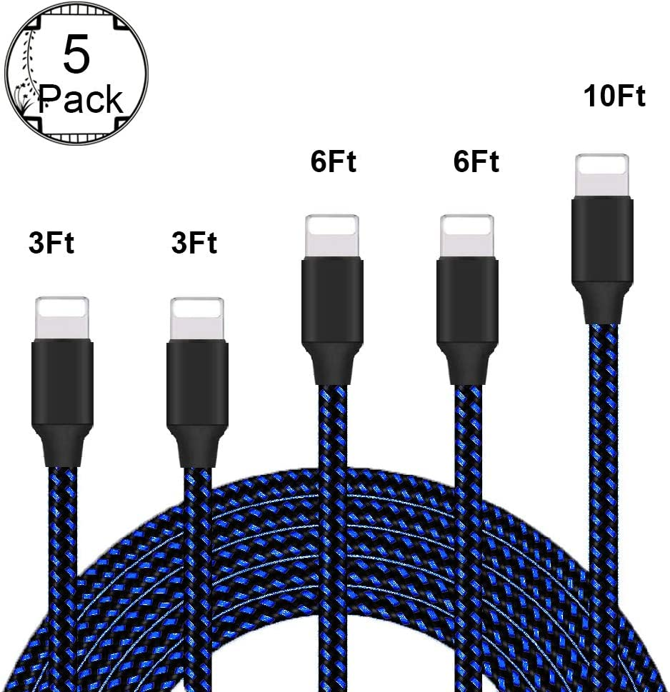 Wond iPhone Charger, MFi Certified Lightning Cable 5 Pack (3/3/6/6/10FT) Nylon Woven with Metal Connector Compatible iPhone 11/Pro/Xs Max/X/8/7/Plus/6S/6/SE/5S iPad - Blue&Black.
