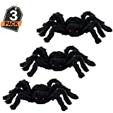 Kompanion 3 Giant Black Spiders for Halloween Decoration, for Indoor and Outdoor, Realistic and Creepy Halloween Props, 30cm, Pack of 3
