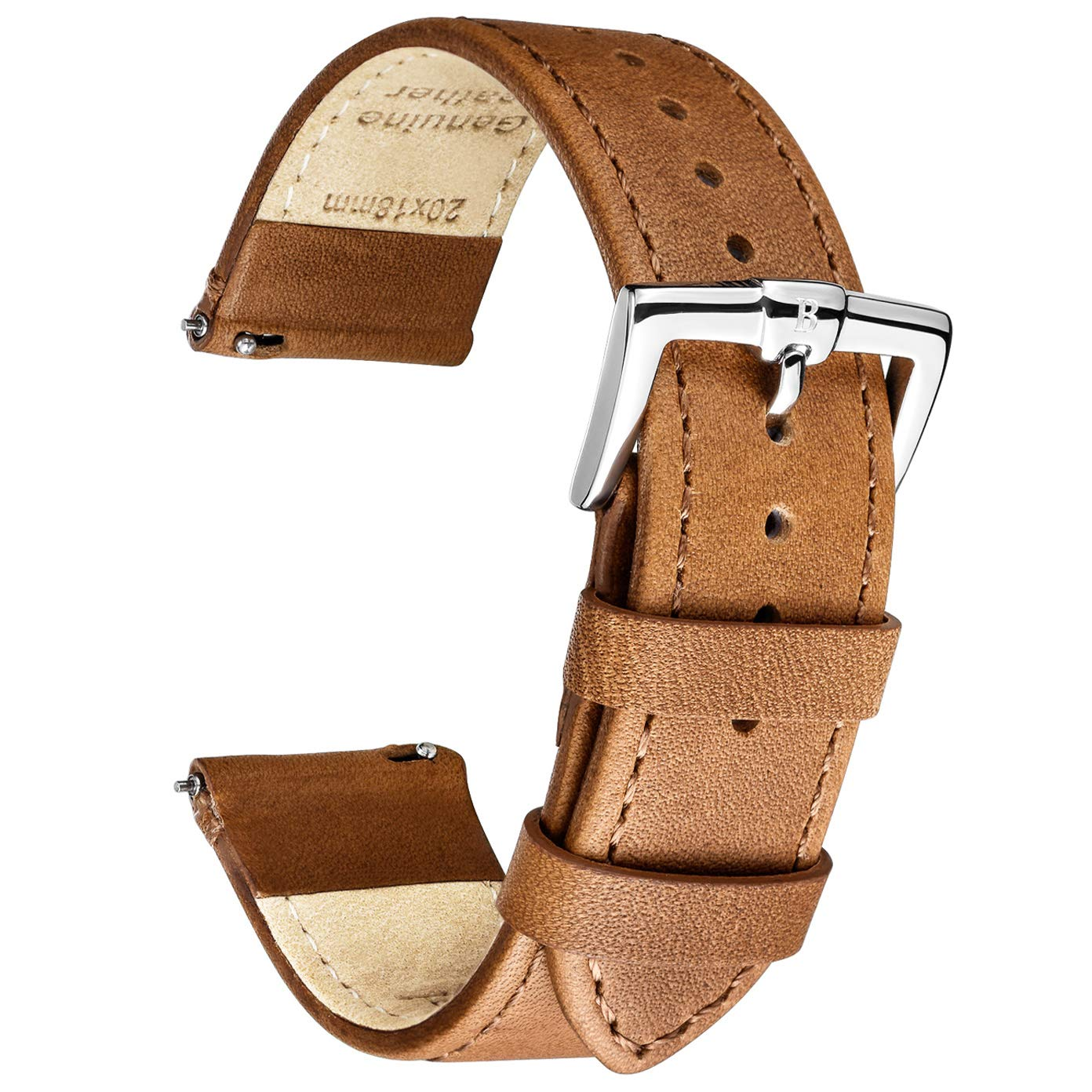B&E Quick Release Watch Bands Strap Top Smooth Genuine Leather for Men & Women - Lite Vintage Style Wristbands for Traditional & Smart Watch - 16mm 18mm 20mm 22mm 24mm Width Available - LTBNBN20