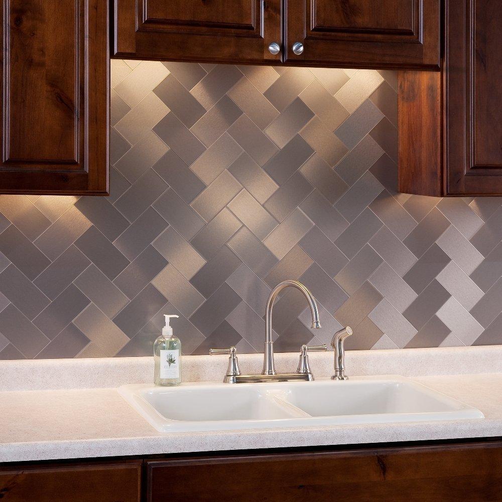 Art3d 100-Pieces Peel and Stick Tile Kitchen Backsplash Metal Wall Tiles, Brushed Aluminium Subway