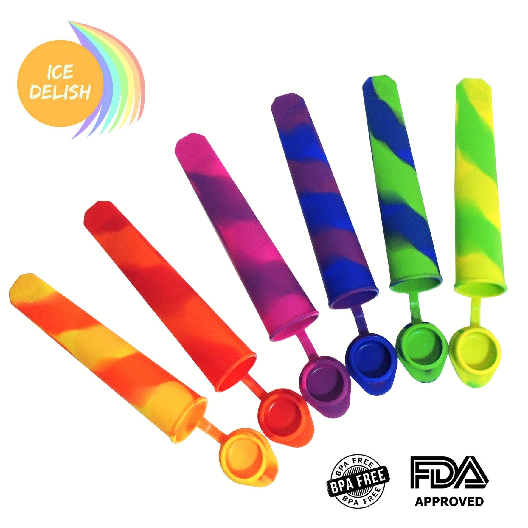 """ICE DELISH 6 pack Silicone Popsicle Molds - Fun Rainbow Colors - Make Healthy Desserts for the Family, or """"Adult Beverage"""" Ice Pops!"""