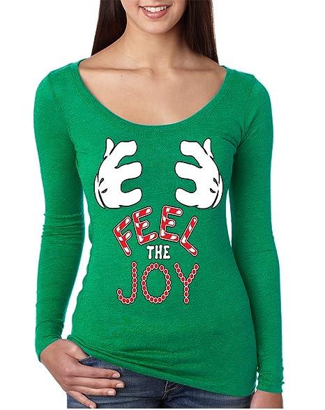 allntrends womens shirt feel the joy cute christmas shirt trendy gift s envy green - Feel The Joy Christmas Sweater