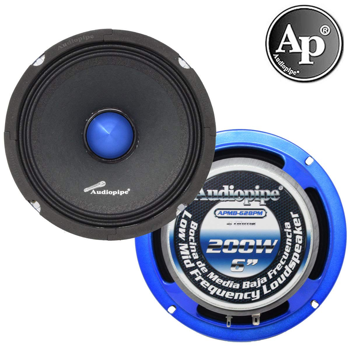 Audiopipe (1) 6インチミッドフルレンジ 200ワット 大音量スピーカー 4オーム スリムマウント APMB-628PM B07KKPVND6