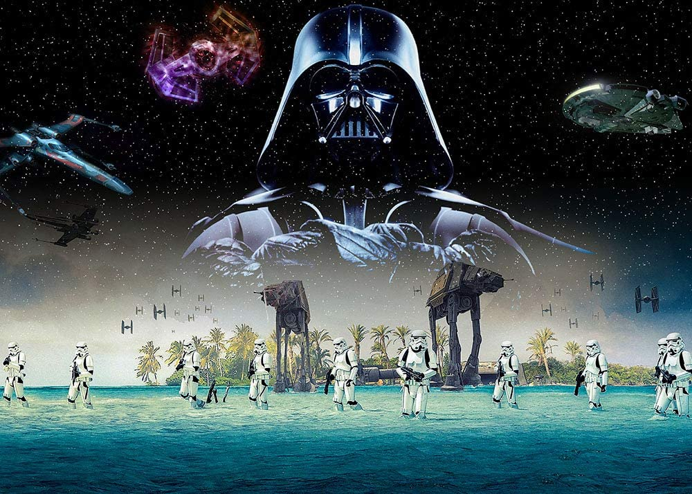 Universal Galaxy Wars Outer Space Photography Backdrops Boys 1st Birthday Party Supplies Star Wars Science Fiction Photo Background Baby Shower Decorations Banner Studio Props 7x5ft Vinyl