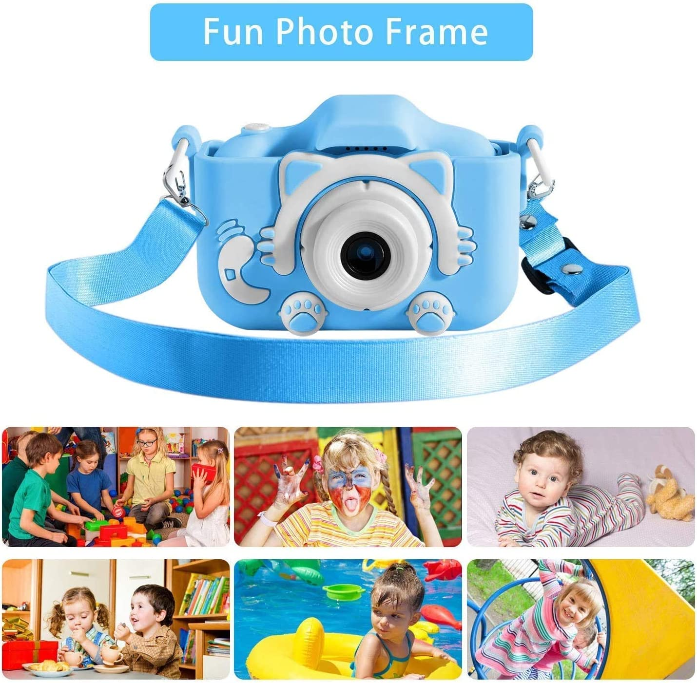 Kids Camera, Kids Camera for Girls Birthday Gifts HD 2.0 Inches IPS Screen Video Camera Anti-Drop Children Selfie Toy Camera Child Dightal Camera for 3-14-Year-Old with Safe Soft Silicone Case (Blue)