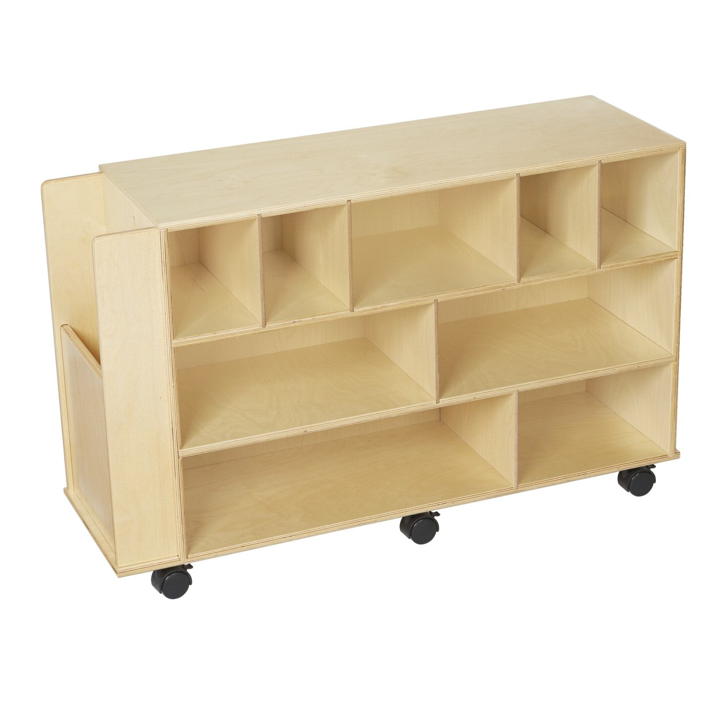 Childcraft Mobile Block Cabinet with End Compartment, 40-1/4 x 13 x 24-7/8 Inches