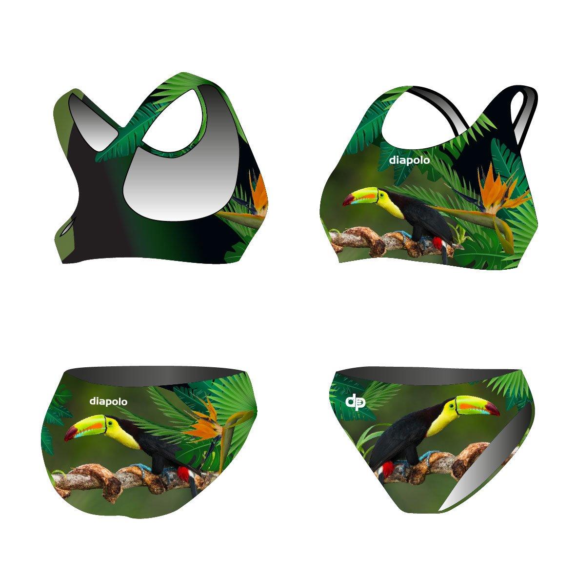 Diapolo Tucan Sport-Bikini Zweiteiler aus der Wild Animals Kollektion für Schwimmen Synchronschwimmen Wasserball Thriathlon