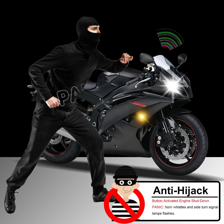 Bluefire universal de alarma para motocicleta con motor Start mando a distancia Antirrobo Seguridad T/écnica para 12/V Motocicleta