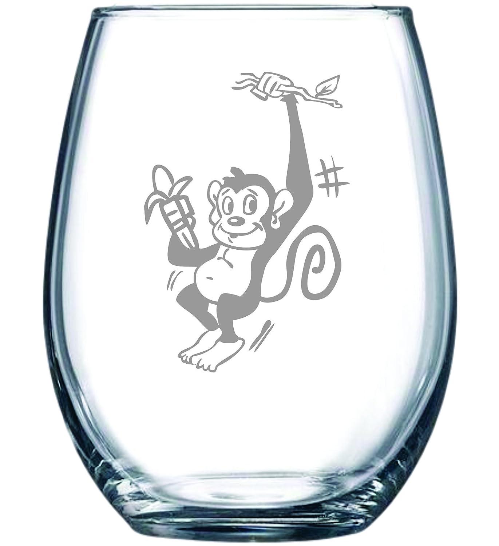 Monkey stemless wine glass, 15 oz.