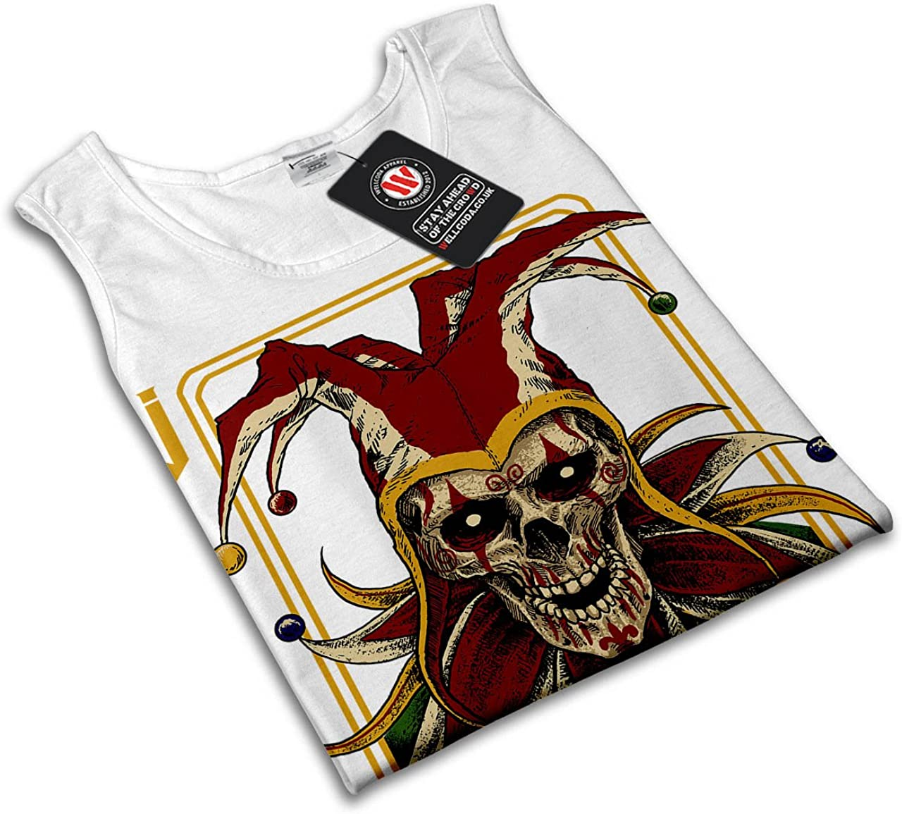 Wellcoda Card Horror Skull Mens Tank Top No Jokes Fit Lifestyle Sports Shirt