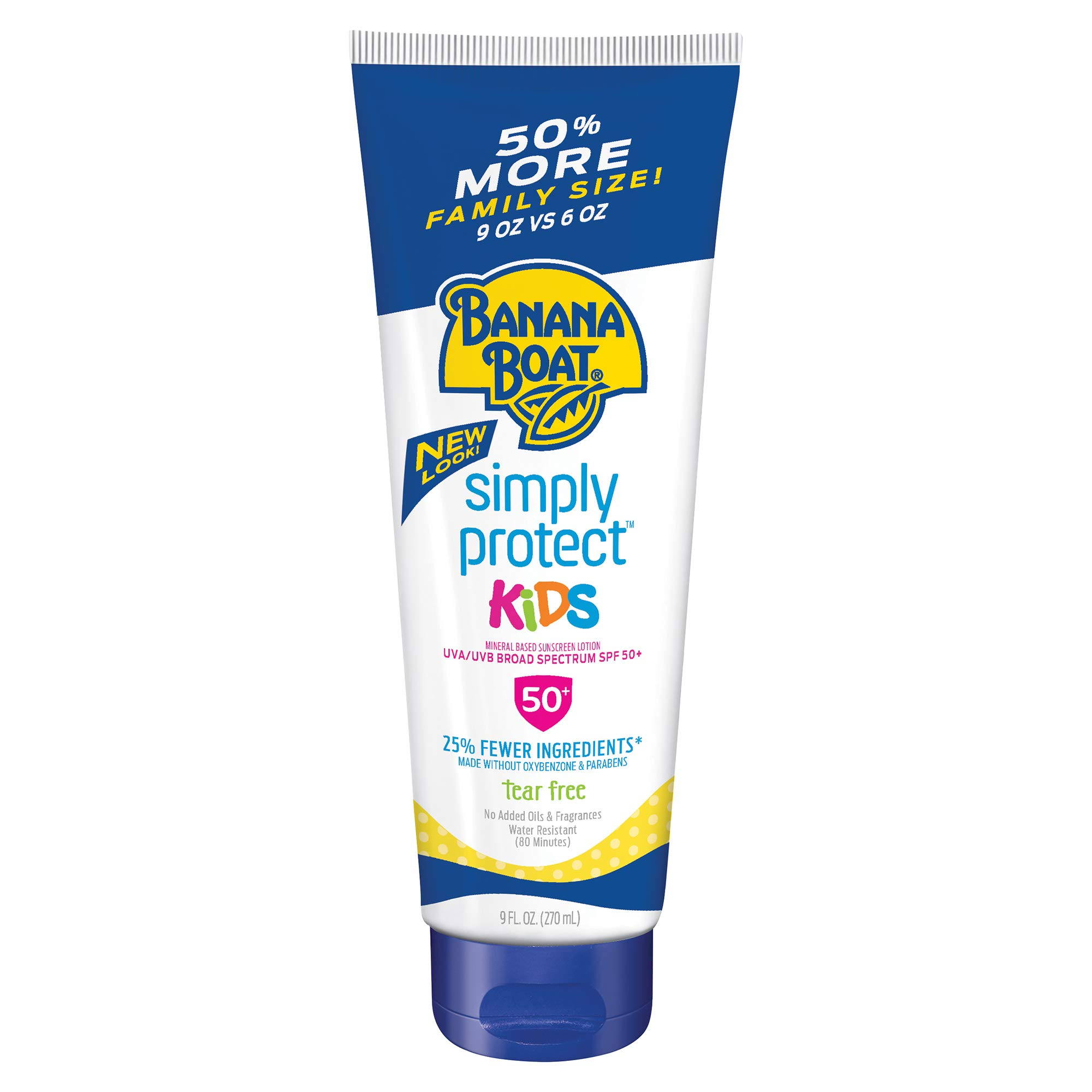 Banana Boat Simply Protect Tear Free, Reef Friendly Sunscreen Lotion Spray for Kids, Broad Spectrum SPF 50, 25% Fewer Ingredients, 9 Ounces