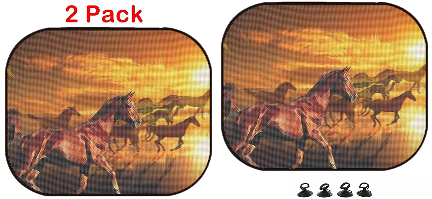 Luxlady Car Sun Shade Protector Block Damaging UV Rays Sunlight Heat for All Vehicles 2 Pack Wild Horses Running Against a Colourful Sunset Image ID 789150
