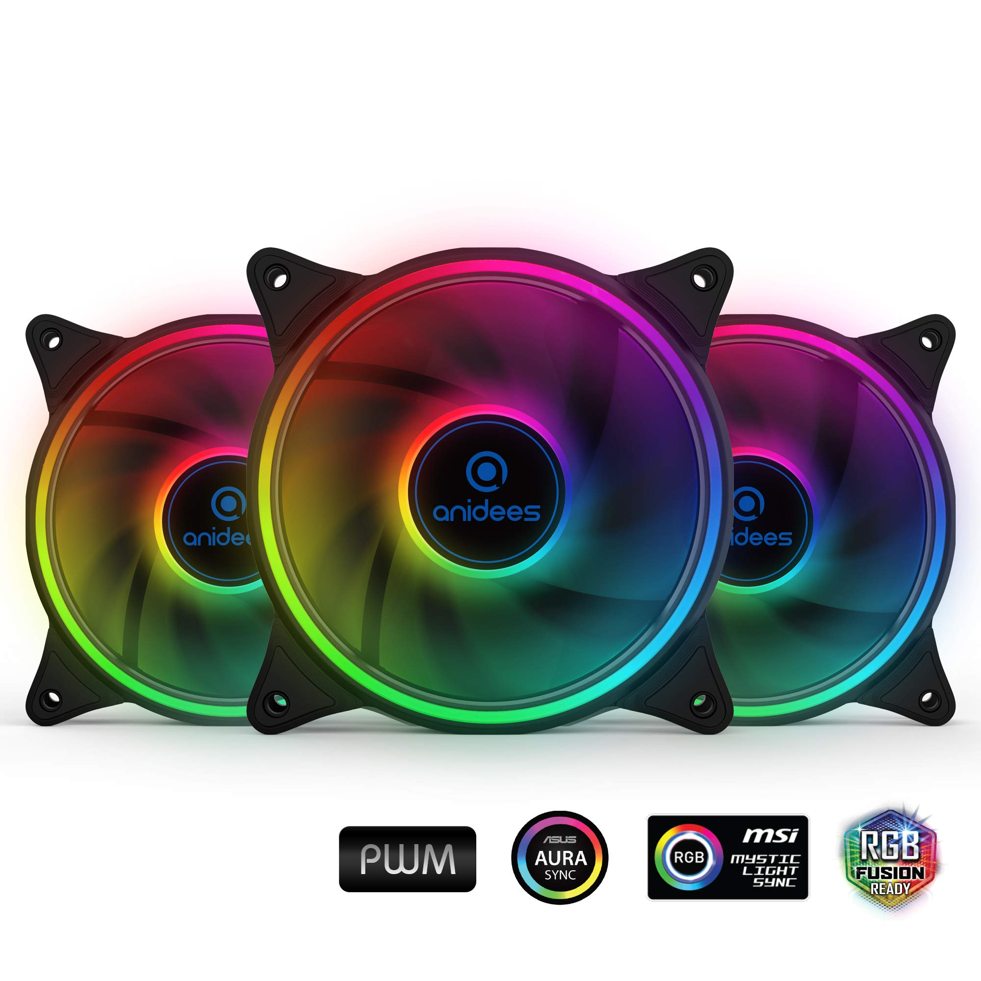 anidees AI Tesseract 120mm 3pcs RGB PWM Fan compatible with ASUS Aura SYNC/MSI Mystic Sync/GIGABYTE Fusion, controlled by 5V 3pins RGB Header on MB, for Case Fan, Cooler Fan, with Remote(AI-TESSERACT)