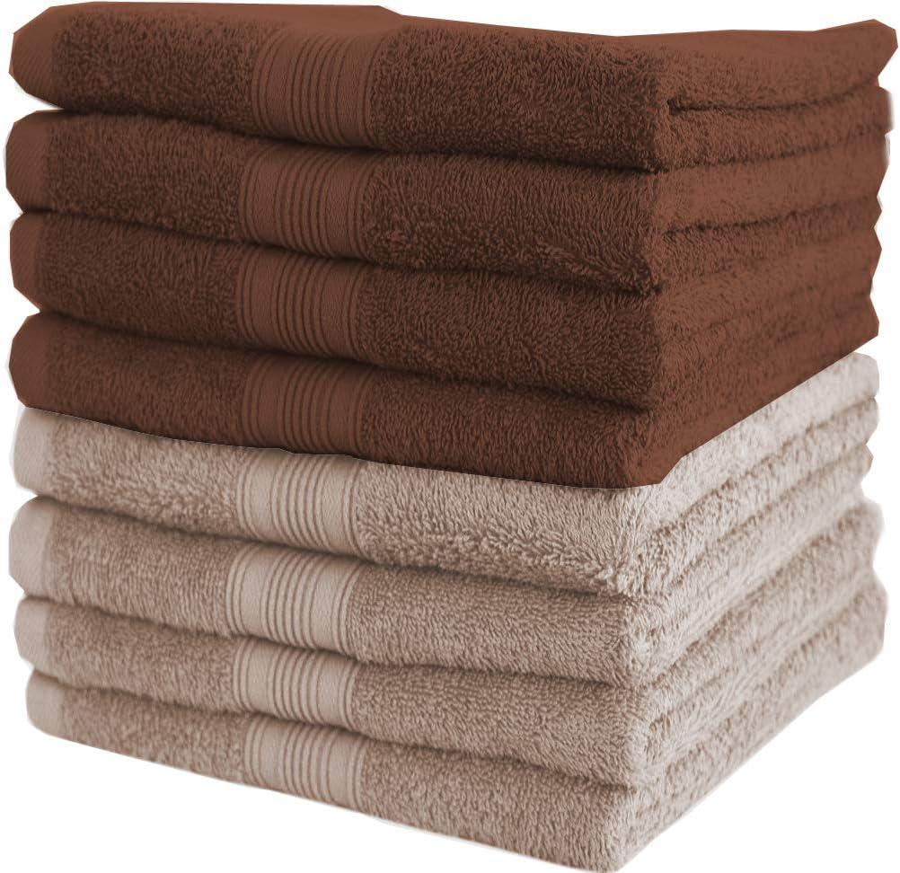 8 Schokobraun//Sand 100/% Baumwolle 50 x 100 cm NatureMark 8er Pack Handt/ücher 50x100cm