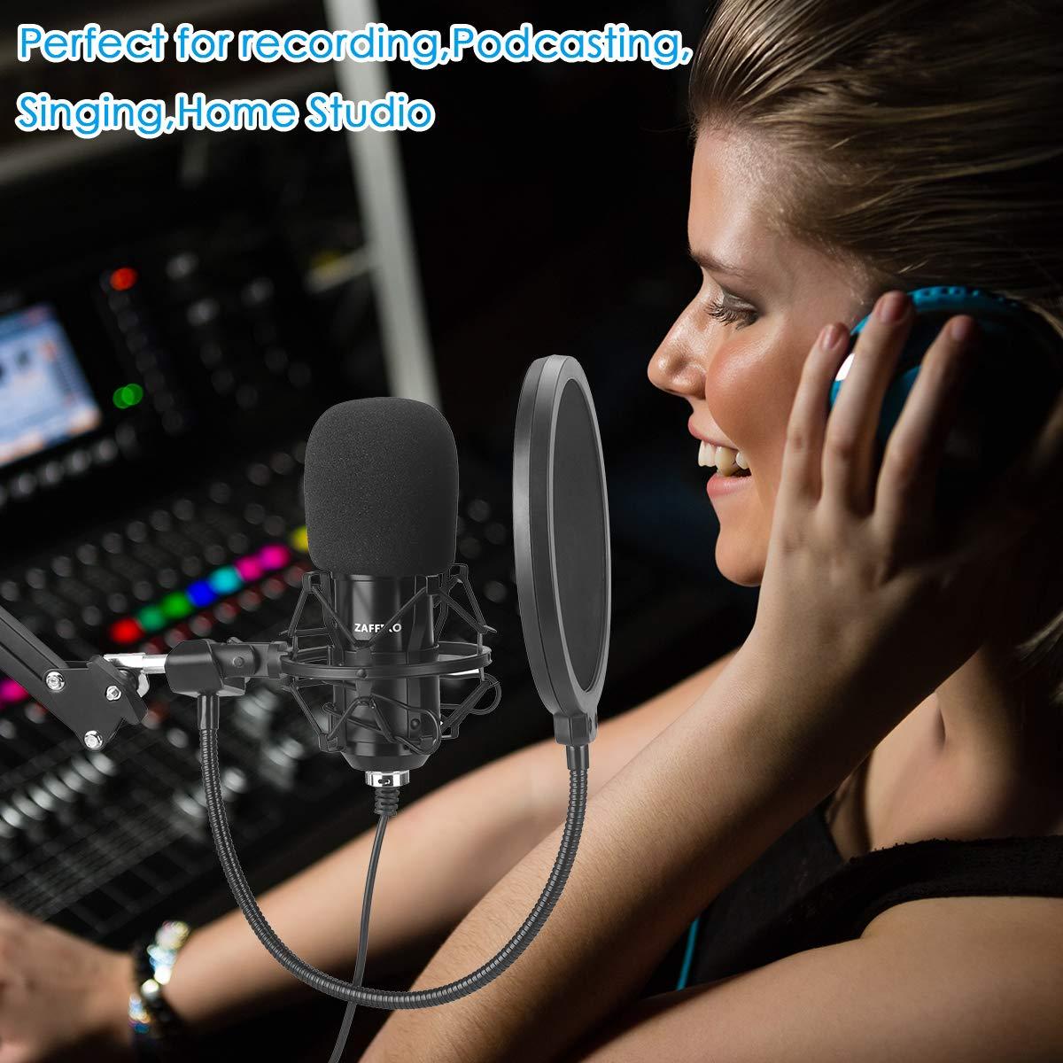 ZAFFIRO Estudio Micr/ófono de Condensador Kit de micr/ófono USB Micr/ófono de Condensador Plug /& Play Micr/ófono de computadora cardioide para computadora de Escritorio//port/átil//port/átil