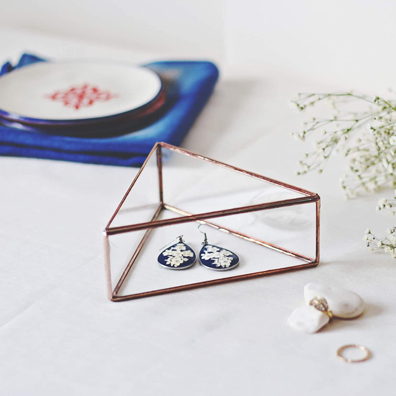 Waen Jewelry Box Collection Small Glass Jewelry Display Box with Lid - Triangle (Copper, Silver, Black)
