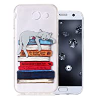 J3 Emerge Case, Clear Silicone Case for Samsung Galaxy J3 2017/J3 Prime/J3 Eclipse/J3 Mission/J3 Luna Pro/Express Prime 2 Protective Cover Aeeque Slim Fit Soft Rubber Phone Cases, Sleeping Cat & Books