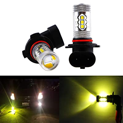 Dantoo 2pcs Extremely Bright H10 LED Fog Light Bulbs 9045 9040 9140 9145 LED Bulbs 3000K 16 SMD Fog Light Lamp Replacement For Fog Lights or DRL Gold Yellow: Automotive