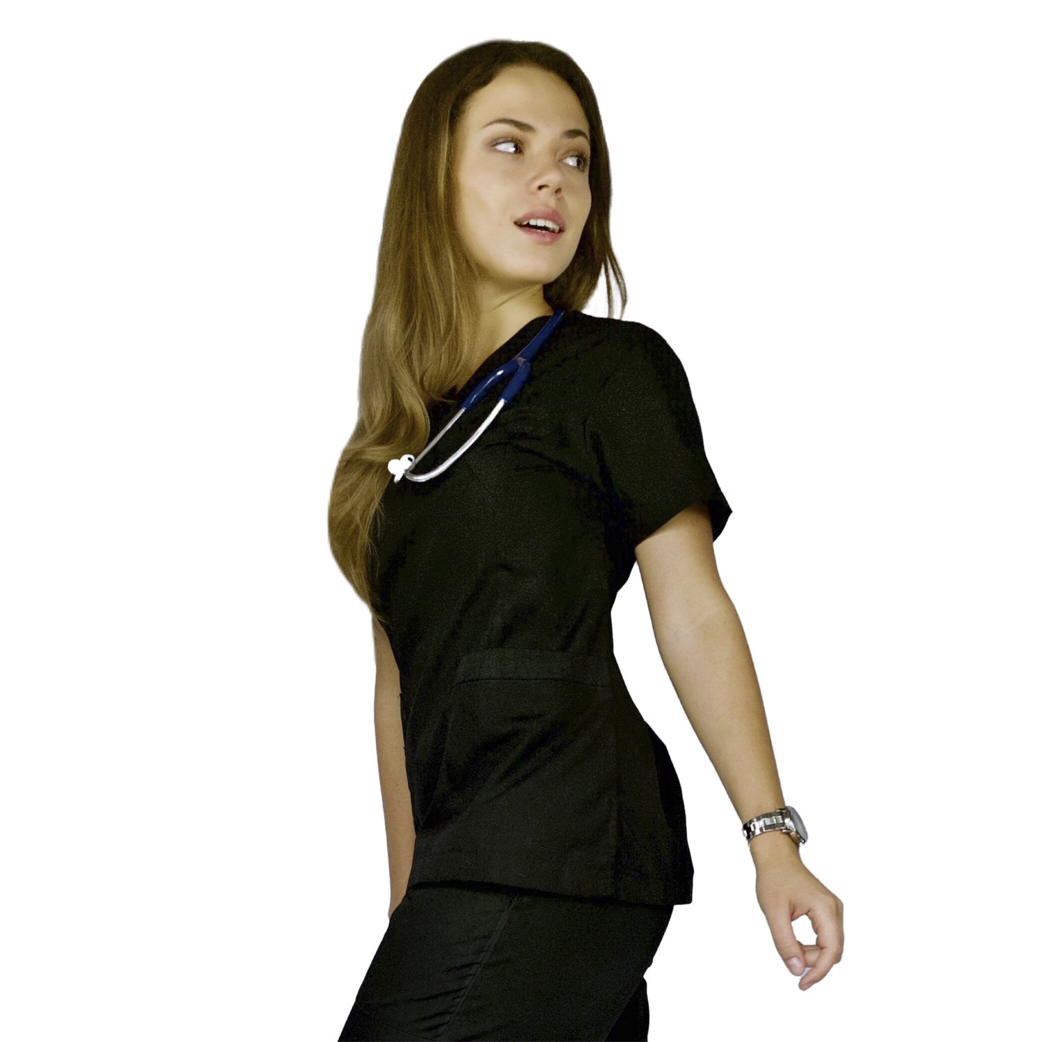 AMAZMEE Medical Scrubs Uniform Set for Women V-Neck Wrap Top with Red Neckline and Drawstring Straight Pant 7 Pockets Premium Breathable Material (Black, XS)