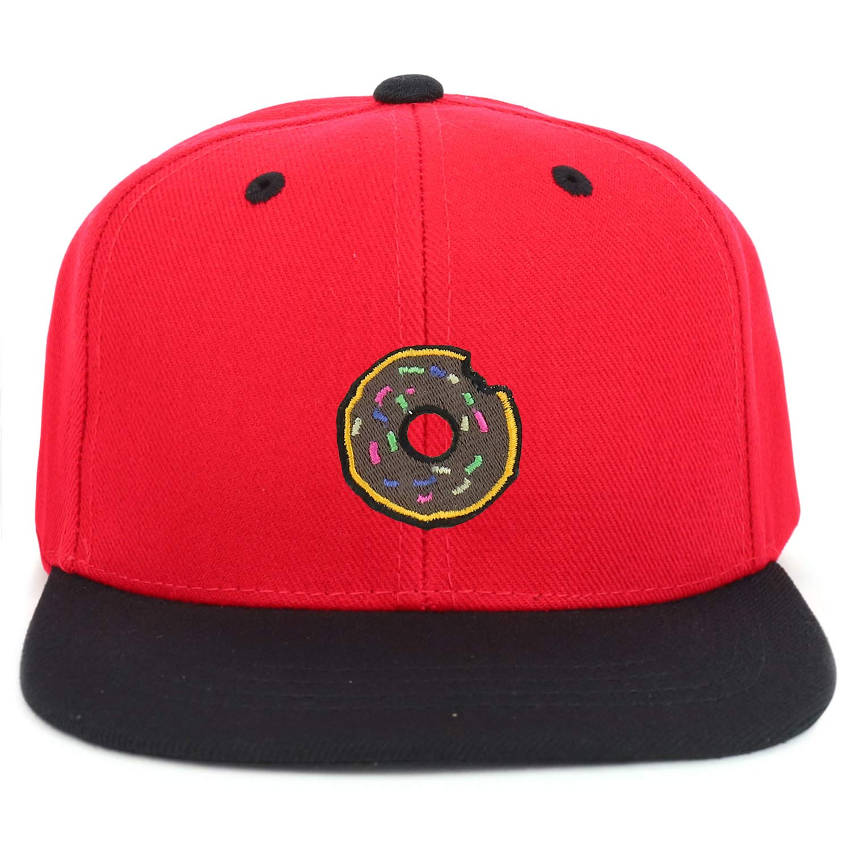 Armycrew Youth Kids Donut Patch Flat Bill Snapback 2-Tone Baseball Cap