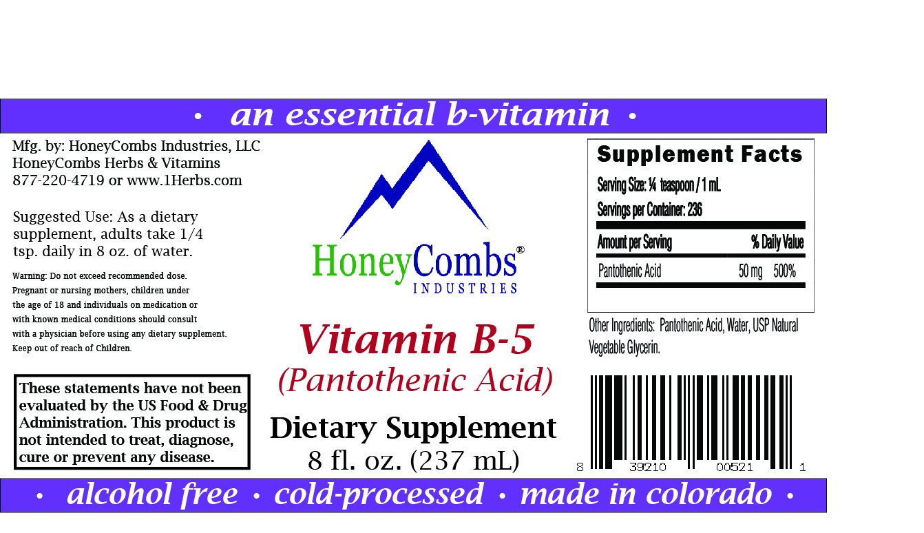 Amazon.com: 16oz Vitamin B5 Pantothenic Acid by HoneyCombs Industries, Alcohol-Free Liquid Extract Maintain Healthy Hormones, Support Heart Health, ...