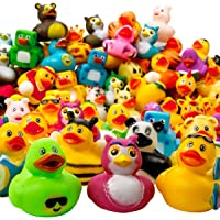 Kicko Assorted Rubber Duckies - 100 PC Bath Floater - Baby Showers Accessories - Bulk Ducks for Kids - Easter Party…