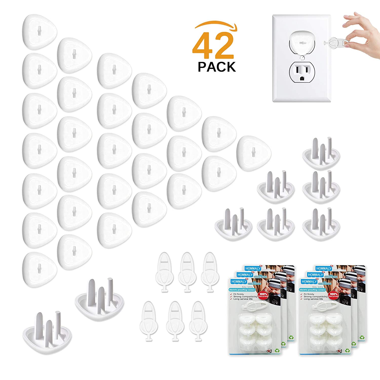 Outlet Plugs Covers Baby Proofing(36 Plug + 6 Keys),Baby Safety Electrical Wall Socket Protector Caps Kit for Toddlers Child BDD
