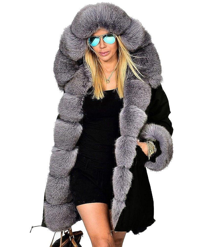 Roiii - Parka larga para mujer, con capucha