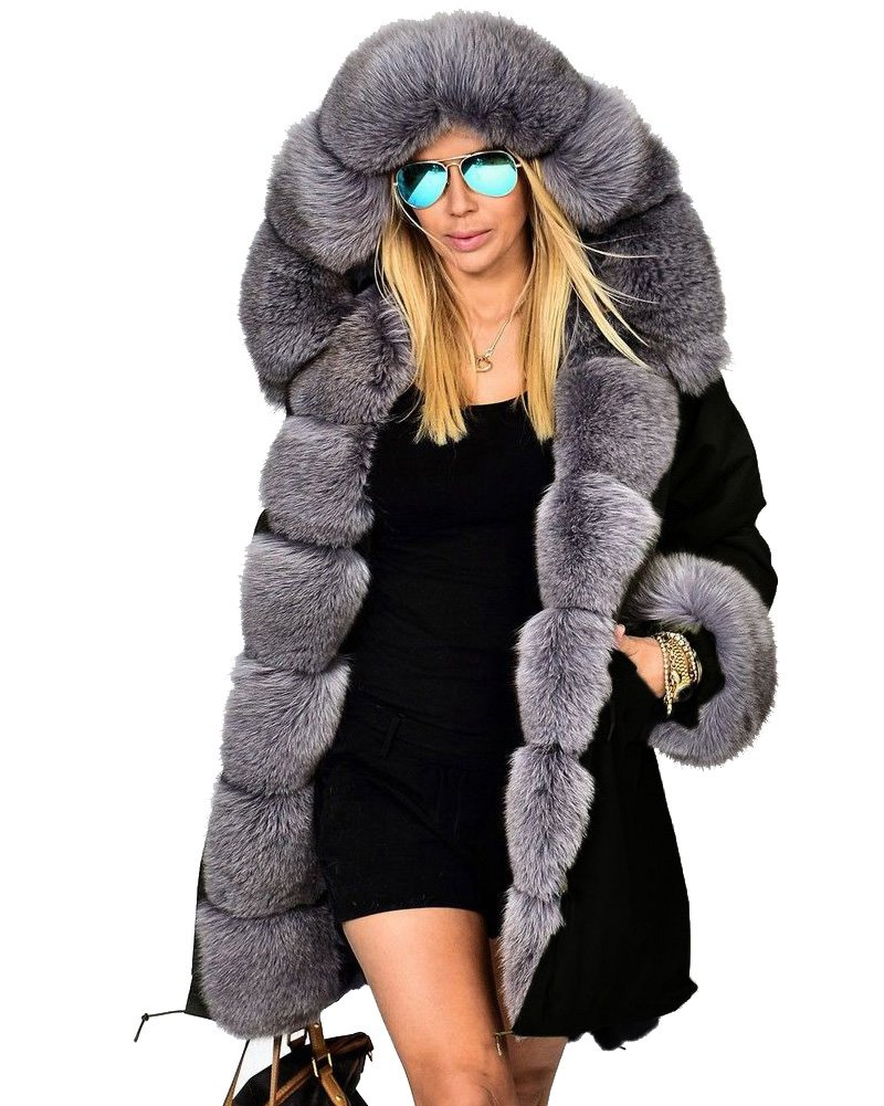 Roiii Women's Warm Winter Coat Hood Parka Overcoat Faux Fur Parka Jacket Outwear (3X-Large, Black)
