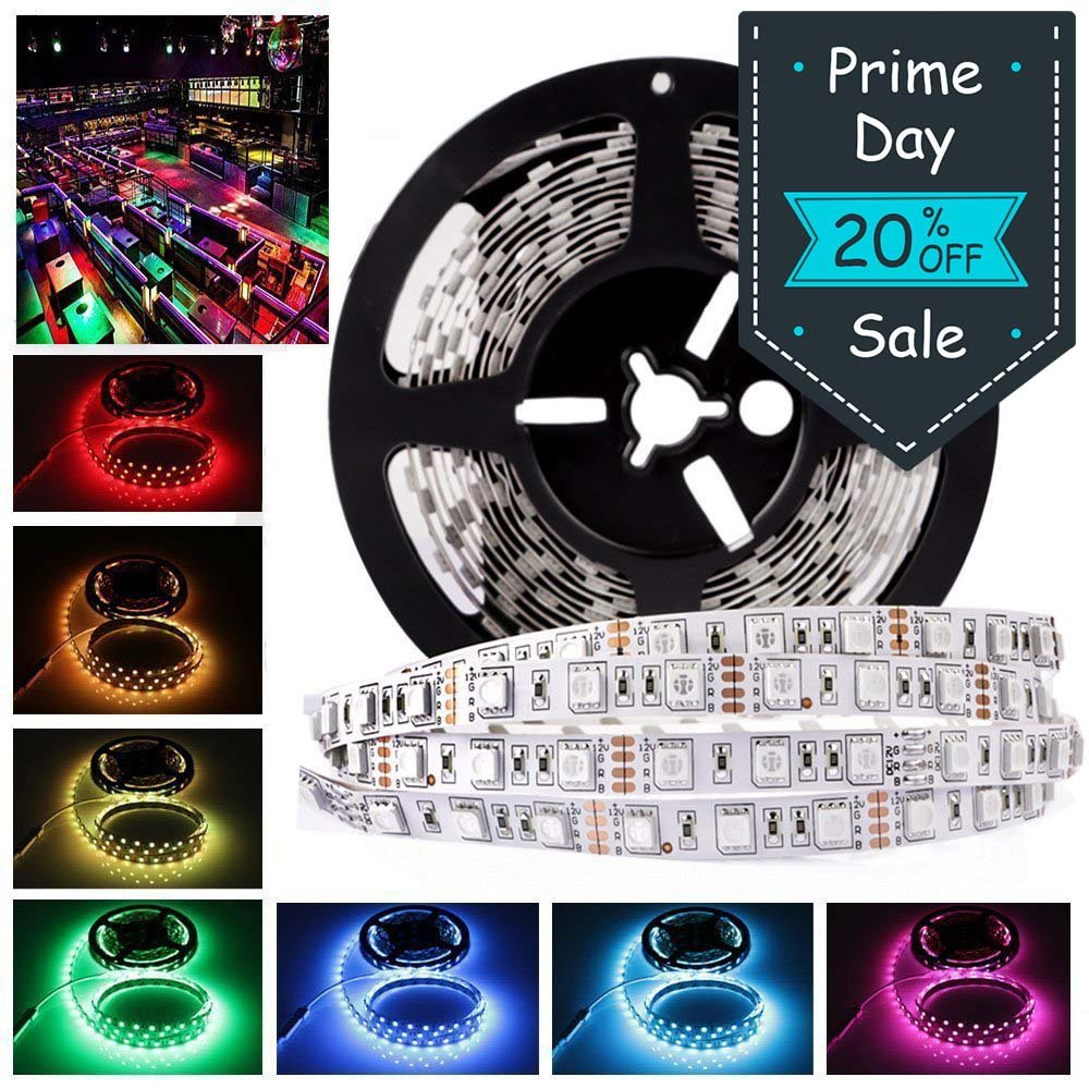 LEDMO 12V Flexible SMD 5050 RGB LED Strip Lights, LED Tape, Multi-colors, 300 LEDs, Non-waterproof, Light Strips, Color Changing, Pack of 16.4ft/5m Strips